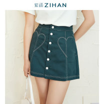 skirt Summer 2021 XS S M L XL Magic green Mid length dress Sweet High waist A-line skirt Solid color Type A 18-24 years old More than 95% By I'happy / Zihan cotton Splicing Same model in shopping mall (sold online and offline) Mori