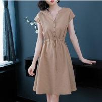 Dress Summer 2020 M,L,XL,2XL,3XL,4XL,5XL Mid length dress singleton  commute High waist Solid color Socket A-line skirt straps Type A Korean version Lace up, button More than 95% other polyester fiber