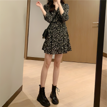 Dress Spring 2021 Black Floral Dress XS,S,M,L Short skirt singleton  Long sleeves commute V-neck High waist Broken flowers Socket A-line skirt 18-24 years old Type A printing 91% (inclusive) - 95% (inclusive) Chiffon