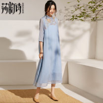 Dress Autumn of 2019 wathet S M L XL Mid length dress singleton  three quarter sleeve commute stand collar Loose waist Decor Socket Big swing routine 30-34 years old Shakespeare's verse literature Embroidered stitching button 19739-3 51% (inclusive) - 70% (inclusive) silk Silk 55% flax 45%