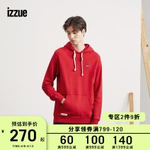 Sweater Youth fashion izzue Black Blue Green Red White Yellow S M L XL Solid color Socket routine Hood winter easy leisure time youth tide routine IZXSWH3171F8B Cotton 100% Winter of 2018 Same model in shopping mall (sold online and offline)