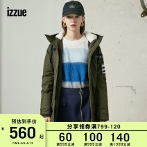 Down Jackets Winter of 2018 izzue Khaki Red XS S M Grey duck down 70% Medium length Long sleeves routine zipper Hood routine Solid color 150g (including) - 200g (excluding) 18-24 years old 96% and above cotton Cotton 98.1% polyurethane elastic fiber (spandex) 1.9% Pure e-commerce (online only)