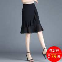 skirt Spring 2021 S M L XL 2XL 3XL 4XL black Short skirt commute High waist skirt Solid color Type H 25-29 years old YMFN-89789 More than 95% Chiffon Imafina polyester fiber zipper Simplicity Polyester 100% Pure e-commerce (online only)
