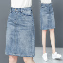skirt Spring 2021 26/S 27/M 28/L 29/XL 30/2XL 31/3XL blue Middle-skirt commute High waist A-line skirt Solid color Type A 25-29 years old GYY-967 81% (inclusive) - 90% (inclusive) Denim Gu Yue cotton Pocket button zipper Korean version Pure e-commerce (online only)