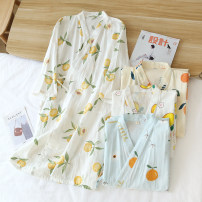 Nightgown / bathrobe Other / other female M, l Pink pomelo bear gauze robe, white pomelo bear gauze robe, blue pomelo bear gauze robe, white orange slice gauze robe, yellow green leaf orange gauze robe, blue green leaf orange gauze robe, yellow fruit gauze robe, white peach gauze robe Thin money