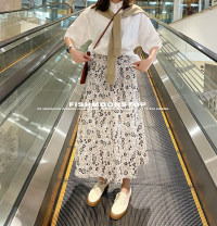 skirt Summer 2021 S, M Picture color Mid length dress Versatile Natural waist stripe Type A More than 95% other cotton