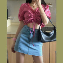 Fashion suit Spring 2021 S. M, l, average size Pink top, light blue denim skirt 18-25 years old