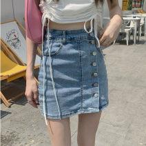 skirt Summer 2021 S,M,L Denim light blue Short skirt Versatile High waist skirt Solid color Type H 18-24 years old Button