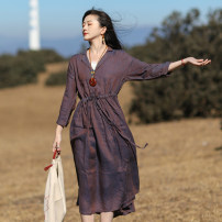 Dress Spring 2021 Purple fields M, L Mid length dress singleton  Long sleeves commute tailored collar Loose waist Solid color Socket A-line skirt routine Others Type A Sanskrit with Hui tune literature Pocket, lace up Yy-q21009 Qianmo purple Linen Lace Up Skirt More than 95% hemp