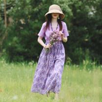 Dress Summer 2020 violet Average size Mid length dress singleton  Short sleeve commute V-neck Elastic waist Socket A-line skirt routine Others Type A Sanskrit with Hui tune literature More than 95% hemp