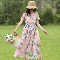 Dress Summer 2020 Pink Average size Mid length dress singleton  Short sleeve commute V-neck Loose waist Decor Socket A-line skirt routine Others Type A Sanskrit with Hui tune Retro Pocket, tie, print HF crane ramie robe 01803 More than 95% hemp