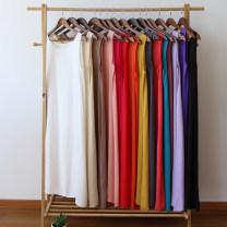 Dress Summer 2021 S,M,L Mid length dress singleton  Sleeveless commute Crew neck Loose waist Socket A-line skirt routine Type H Sanskrit with Hui tune literature 81% (inclusive) - 90% (inclusive) cotton