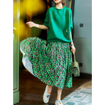 skirt Spring 2021 Average size Purple Print, green print Mid length dress street Natural waist A-line skirt Broken flowers Type A 30-34 years old More than 95% other Plain wood polyester fiber printing Europe and America
