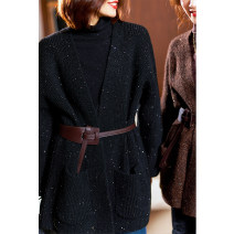 Wool knitwear Winter 2020 Average size Coffee, dark night Long sleeves singleton  Cardigan acrylic fibres 31% (inclusive) - 50% (inclusive) Medium length routine street Straight cylinder other routine other DCL565-420073 30-34 years old Plain wood Sequins, pockets Europe and America