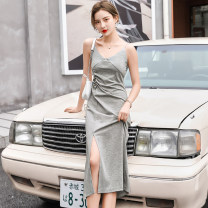 Dress Summer 2021 Black light grey XS S M L XL 2XL Miniskirt singleton  Long sleeves commute V-neck High waist Solid color zipper other other camisole 18-24 years old Type A Jian Liting Simplicity Open back fold BF210 More than 95% other other Other 100%