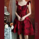 Dress Summer 2021 Dark red S,M,L Middle-skirt singleton  Sleeveless commute High waist Decor zipper Big swing camisole 18-24 years old Type A court Zipper, jacquard