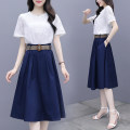 Dress Summer 2020 Navy Blue M,L,XL,2XL Mid length dress Two piece set Short sleeve commute Crew neck High waist Solid color Socket A-line skirt routine Others 25-29 years old Type A Retro JBENRJ/157D/425 More than 95% other other
