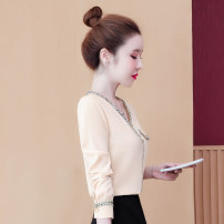 Lace / Chiffon Autumn 2020 Apricot, black, red S,M,L,XL,2XL Long sleeves commute Cardigan singleton  easy Regular V-neck Solid color routine 25-29 years old QFF5180928 Pleating, pleating, stitching, buttons Korean version
