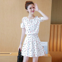 Dress Summer of 2019 Feather, chrysanthemum, dandelion S,M,L,XL Short skirt singleton  Short sleeve commute Crew neck High waist Solid color Socket A-line skirt routine straps 18-24 years old Type A Korean version Pleating, embroidery, pocket, three-dimensional decoration, 3D, printing MY81821 other