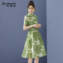 Dress Summer 2021 green S M L XL XXL Mid length dress Two piece set Short sleeve commute Polo collar Loose waist Decor Single breasted routine 30-34 years old Type H Muzoni Ol style Three dimensional decorative button printing on pleated pocket Z21XL12823 30% and below nylon