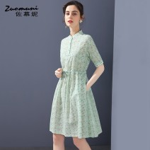 Dress Spring 2021 green S M L XL XXL Middle-skirt singleton  Short sleeve commute Polo collar Loose waist Broken flowers Single breasted routine 30-34 years old Type A Muzoni Ol style Bow drawfold fold pocket lace up strap button print slit Z21CL12736 More than 95% cotton Cotton 100%