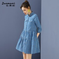 Dress Spring 2021 blue S M L XL XXL Short skirt singleton  three quarter sleeve commute Polo collar Loose waist lattice Single breasted routine 30-34 years old Type H Muzoni Embroidered pleated pockets with stitched buttons Z21CL12691 More than 95% cotton Cotton 100%