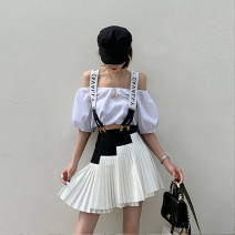 skirt Spring 2020 S,M,L Black and white stitched skirt with strap Short skirt Versatile Natural waist Pleated skirt other Type A other