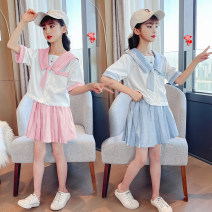 suit Brother Minggui Pink suit, blue suit 110cm,120cm,130cm,140cm,150cm,160cm female summer college Short sleeve + pants 2 pieces routine There are models in the real shooting Socket nothing Solid color other children Expression of love MGx0005 Class B Other 100% Chinese Mainland