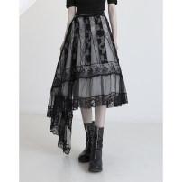skirt Spring 2021 S,M,L black Mid length dress High waist A-line skirt Type A 30% and below cotton