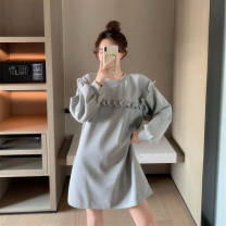 Women's large Spring 2021 S M L XL singleton  commute easy Long sleeves Solid color Korean version Crew neck have cash less than that is registered in the accounts routine Aolltl / oriti 18-24 years old 51% (inclusive) - 70% (inclusive) Short skirt Other 100% Pure e-commerce (online only) other