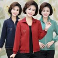short coat Autumn of 2019 XL,2XL,3XL,4XL,5XL Navy, red, bean green Long sleeves have cash less than that is registered in the accounts singleton  easy Versatile stand collar zipper Plants and flowers 40-49 years old Embroidery
