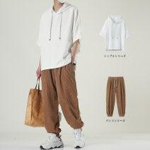 T-shirt Youth fashion B837 white + ck2031 black b837 white + ck2031 Khaki b837 white + ck2031 m b837 gray + ck2031 m b837 white b837 gray thin M L XL 2XL 3XL EB (clothing) elbow sleeve Crew neck easy Other leisure summer B83778 Polyethylene terephthalate (polyester) 95% polyamide fiber (nylon) 5%