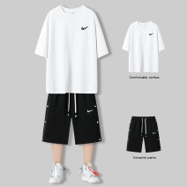 Casual pants EB (clothing) Youth fashion M L XL 2XL 3XL thin Pant Other leisure easy No bullet gWdw summer teenagers tide middle-waisted Straight cylinder Cotton 51.00% polyester 49.00% Sports pants Arrest line No iron treatment Solid color cotton Summer 2021 Pure e-commerce (online only)