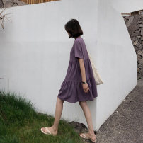 Dress Summer 2020 Black Purple XL M L XXL Middle-skirt singleton  Short sleeve commute Crew neck Loose waist Solid color Cake skirt other Others 18-24 years old Type H Chiffon Korean version Splicing More than 95% polyester fiber Polyester 100% Pure e-commerce (online only)