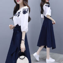 Dress Summer 2020 White T + dress, white + dress S,M,L,XL,2XL Short skirt Two piece set Short sleeve Sweet Crew neck Loose waist Decor other other other Others 18-24 years old Type A 31% (inclusive) - 50% (inclusive) other other college