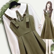Dress Spring 2021 S,M,L,XL Middle-skirt Two piece set Long sleeves commute Doll Collar High waist Solid color Socket A-line skirt shirt sleeve Others 18-24 years old Type A Other Korean version Bowknot, stitching More than 95% other