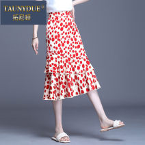 skirt Spring 2021 M L XL 2XL 3XL 4XL Black and red flowers Mid length dress High waist More than 95% Taunydue / tonyton other Other 100% Pure e-commerce (online only)