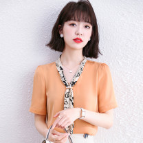 shirt White Ginger S M L XL 2XL Summer 2021 other 96% and above Short sleeve commute Medium length V-neck Socket routine Solid color 30-34 years old Straight cylinder Fashang dream Ol style 9652# Lace up printing Other 100% Chiffon