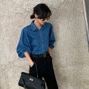 shirt Denim blue S M L Spring 2021 other 96% and above Long sleeves commute Medium length Polo collar Single row multi button bishop sleeve Solid color 25-29 years old Straight cylinder Fashang dream Retro Other 100% Pure e-commerce (online only) Cotton denim