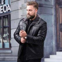 leather clothing Great luxury Fashion City black L XL 2XL 3XL 4XL 5XL 6XL 7XL 8XL 9XL 10XL routine Leather clothes Lapel easy zipper winter leisure time Large size Sheepskin Simplicity in Europe and America JS181026WC10 Straight hem Side seam pocket Zipper decoration No iron treatment Winter of 2018