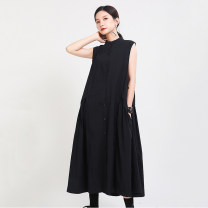 Dress Summer 2021 Black, Khaki Average size longuette singleton  Sleeveless commute stand collar Loose waist Solid color Single breasted A-line skirt routine Others 18-24 years old Type A Other / other Simplicity Button, button 51% (inclusive) - 70% (inclusive) other cotton
