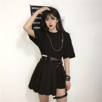T-shirt Black long T + chain, short skirt + belt, waist bag and leg ring Average size Summer 2020 Short sleeve cotton 86% (inclusive) -95% (inclusive) 18-24 years old