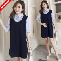Dress VSETAMELLE Blue short sleeve, blue long sleeve two-piece, blue long sleeve two-piece set M,L,XL,XXL Korean version Short sleeve Medium length summer Lapel stripe VS-69851