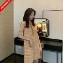 Dress VSETAMELLE Yellow, green M,L,XL,XXL Korean version Short sleeve Medium length summer Lapel lattice nylon VS-30261