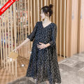 Dress other Picture color M,L,XL,XXL Korean version elbow sleeve Medium length summer V-neck Decor Chiffon