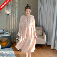 Dress VSETAMELLE Picture color M,L,XL Korean version three quarter sleeve Medium length spring V-neck Solid color nylon VS-85410