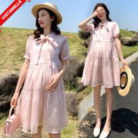 Dress VSETAMELLE Pink M,L,XL,XXL Korean version Short sleeve Medium length summer Solid color