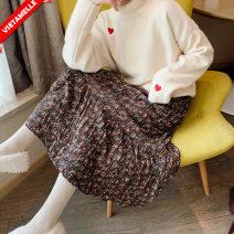 skirt Maternity Skirt routine Korean version M,L,XL,XXL Four seasons VSETAMELLE Black, brown Decor VS-13021