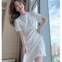 Dress Summer 2021 white S M L XL Short skirt singleton  Short sleeve commute Crew neck High waist Solid color Socket A-line skirt routine 18-24 years old Homltiaml / hancho Lace More than 95% other Other 100% Pure e-commerce (online only)