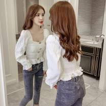 shirt White red S M L XL Autumn of 2019 other 96% and above Long sleeves Original design Short style (40cm < length ≤ 50cm) stand collar Socket pagoda sleeve Solid color 18-24 years old High waist type Homltiaml / hancho fold Other 100% Pure e-commerce (online only) Synthetic fiber